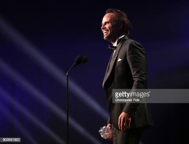 Actor Walton Goggins accepts Best Supporting Actor in a Comedy Series for 'Vice Principals' onstage during The 23rd Annual Critics' Choice Awards at...