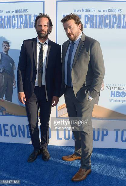 "Actor Walton Goggins and executive producer/writer/director Danny McBride attend the premiere of HBO's ""Vice Principals"" at Avalon Hollywood on July..."