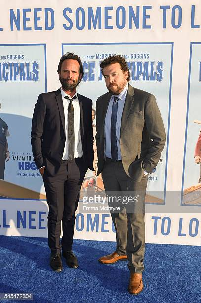 Actor Walton Goggins and executive producer/writer/director Danny McBride attend the premiere of HBO's 'Vice Principals' at Avalon Hollywood on July...