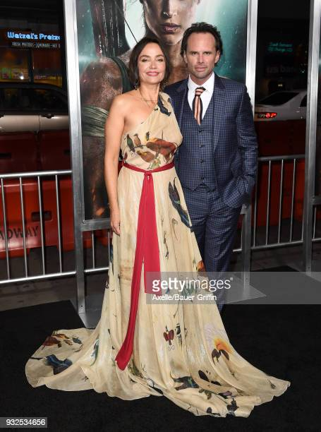Actor Walton Goggins and Nadia Conners attend the Los Angeles Premiere of 'Tomb Raider' at TCL Chinese Theatre IMAX on March 12 2018 in Hollywood...