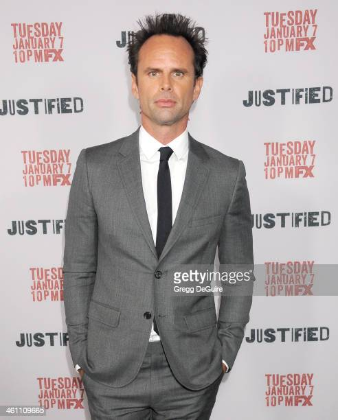 Actor Walton Goggins arrives at the Los Angeles premiere of FX 'Justified' at DGA Theater on January 6 2014 in Los Angeles California