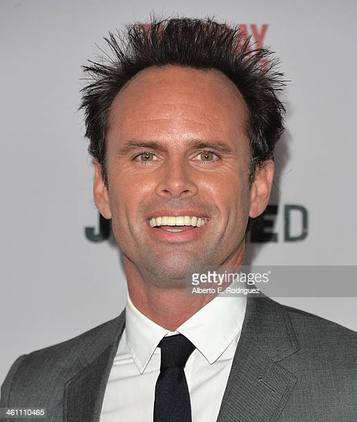 Actor Walton Goggins arrives to the Season 5 premiere of FX's 'Justified' at DGA Theater on January 6 2014 in Los Angeles California