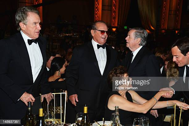 Actor Warren Beatty actor Jack Nicholson actress Annette Bening and AFI chairman Bob Daly attend the 40th AFI Life Achievement Award honoring Shirley...