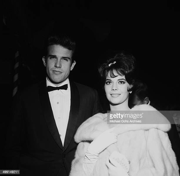 Actor Warren Beatty and actress Natalie Wood attend a party in Los Angeles California