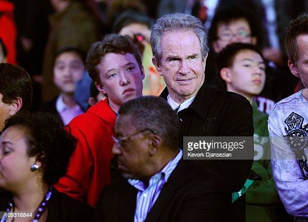 Actor Warren Beatty and his son Benjamin sit in the audience during the 2011 NBA AllStar game at Staples Center on February 20 2011 in Los Angeles...