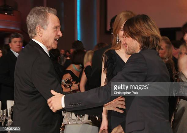 Actor Warren Beatty and musician Keith Urban pose during the 16th annual Critics' Choice Movie Awards at the Hollywood Palladium on January 14 2011...