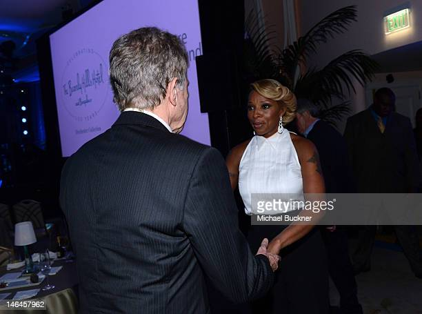 Actor Warren Beatty and recording artist Mary J Blige attend the 100th anniversary celebration of the Beverly Hills Hotel Bungalows supporting the...