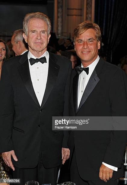 Actor Warren Beatty and writer/producer Aaron Sorkin in the audience during the 38th AFI Life Achievement Award honoring Mike Nichols held at Sony...
