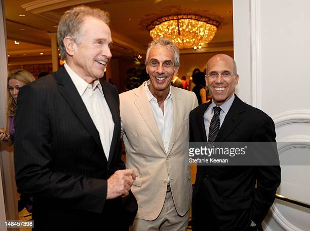 Actor Warren Beatty Beverly Hills Hotel Manager Edward Mady and Dreamworks CEO Jeffrey Katzenberg attend the 100th anniversary celebration of the...