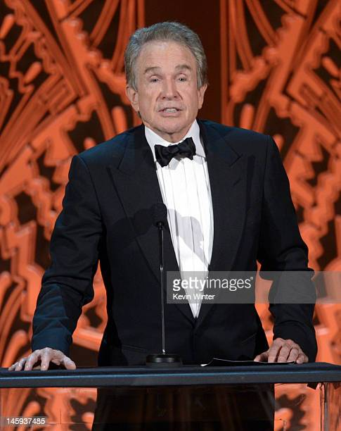 Actor Warren Beatty onstage at the 40th AFI Life Achievement Award honoring Shirley MacLaine held at Sony Pictures Studios on June 7 2012 in Culver...