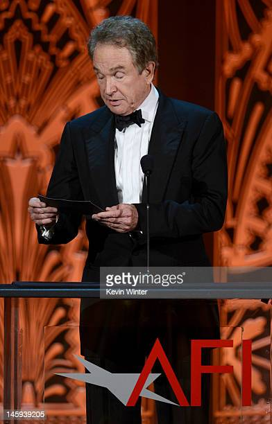 Actor Warren Beatty speaks onstage at the 40th AFI Life Achievement Award honoring Shirley MacLaine held at Sony Pictures Studios on June 7 2012 in...