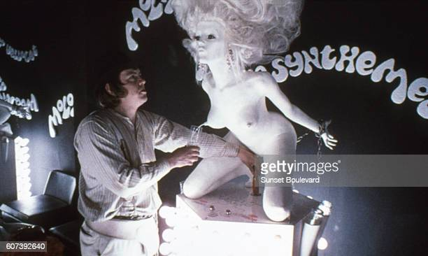 Actor Warren Clarke on the set of Clockwork Orange