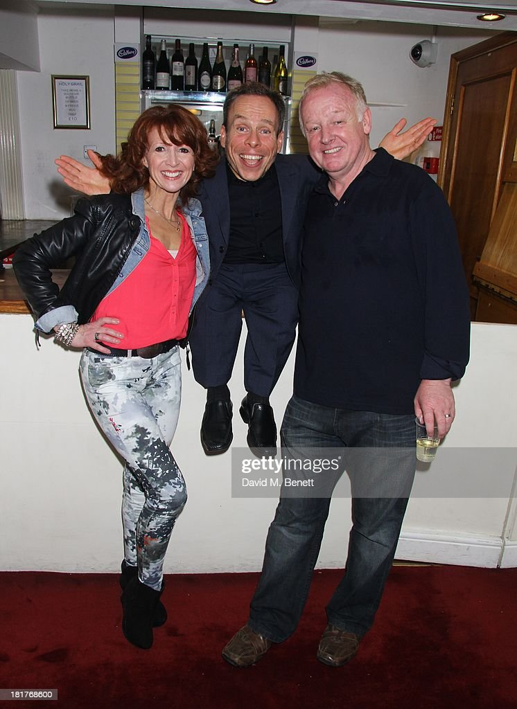 Actor Warrick Davis poses with Bonnie Langford (L) and Les Dennis (R) as he joins the West End Cast of 'Spamalot' during the 'Spamalot' Press Night at the Playhouse Theatre on September 24, 2013 in London, England.
