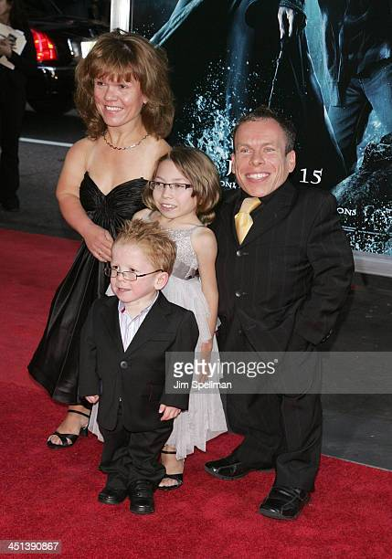 Actor Warwick Davis and family attend the Harry Potter and the HalfBlood Prince premiere at Ziegfeld Theatre on July 9 2009 in New York City