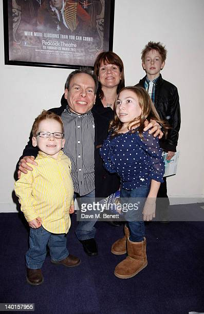 Actor Warwick Davis and family attend the press night performance of 'The Houdini Experience' at The Peacock Theatre on February 28 2012 in London...