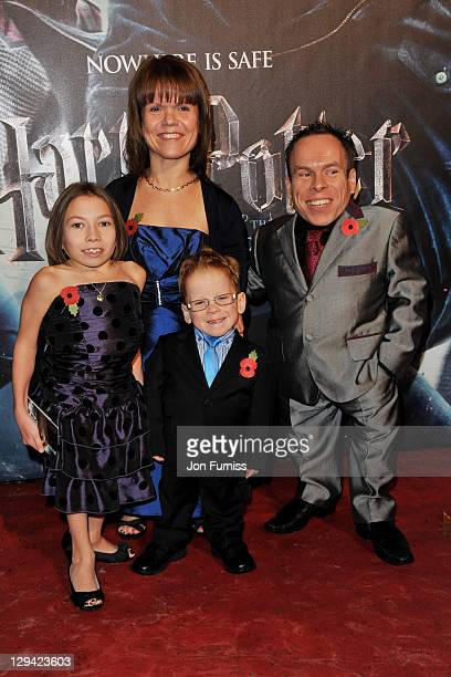 Actor Warwick Davis and family attend the world premiere of Harry Potter and The Deathly Hallows at Odeon Leicester Square on November 11 2010 in...