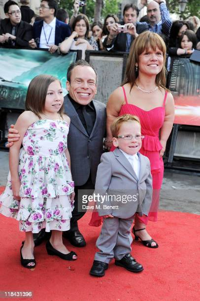 Actor Warwick Davis and guests arrive at the World Premiere of 'Harry Potter And The Deathly Hallows Part 2' in Trafalgar Square on July 7 2011 in...