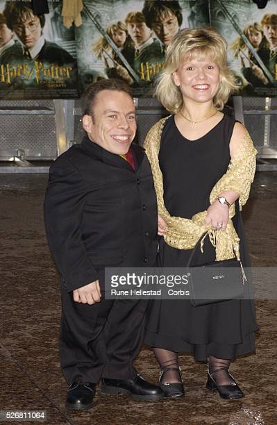 Actor Warwick Davis and his wife Samantha attend the London premiere of the film Harry Potter and the Chamber of Secrets Davis plays the role of...