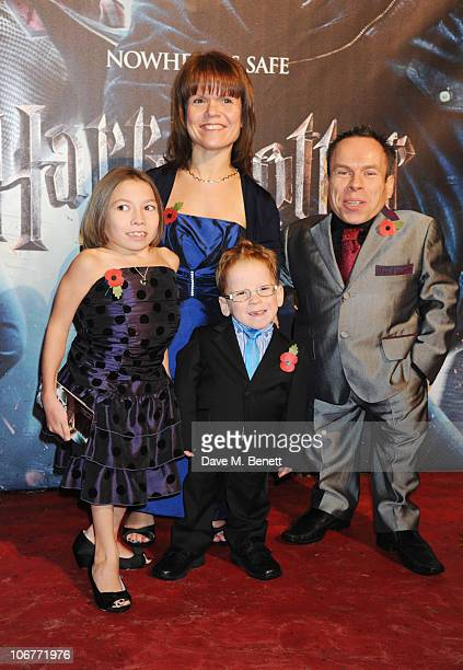 Actor Warwick Davis and his wife Samantha Davis and their children Annabel Davis and Harrison Davis attend the World Premiere of Harry Potter And The...