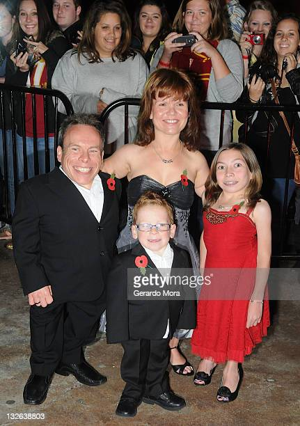 Actor Warwick Davis and his wife/actress Samantha Davis and their children arrive at the Harry Potter and the Deathly Hallows: Part 2 Celebration at...