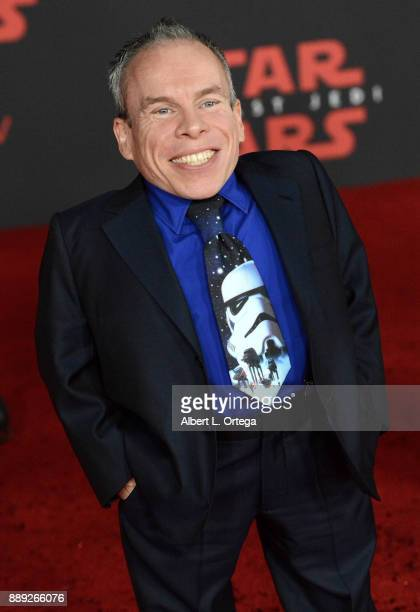Actor Warwick Davis arrives for the Premiere Of Disney Pictures And Lucasfilm's Star Wars The Last Jedi held at The Shrine Auditorium on December 9...