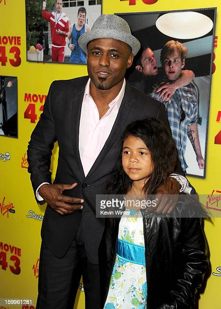 Actor Wayne Brady and daughter Maile Masako Brady attend the premiere of Relativity Media's Movie 43 at TCL Chinese Theatre on January 23 2013 in...