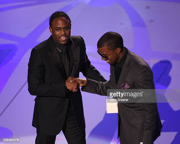 Actor Wayne Brady and rapper Kanye West during the 59th Annual Primetime Emmy Awards at the Shrine Auditorium on September 16 2007 in Los Angeles...