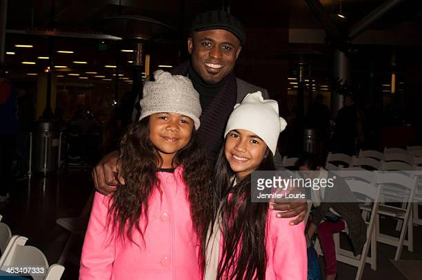 Actor Wayne Brady daughter Maile Brady and friend attend the Children's Hospital Los Angeles' annual Holiday Tree Lighting Ceremony at Ralph M...
