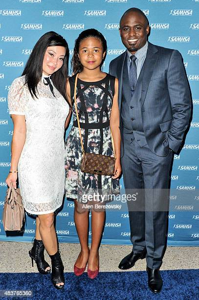 Actor Wayne Brady daughter Maile Masako Brady and actress Mandie Taketa attend the 10th Annual Voice Awards at Royce Hall UCLA on August 12 2015 in...