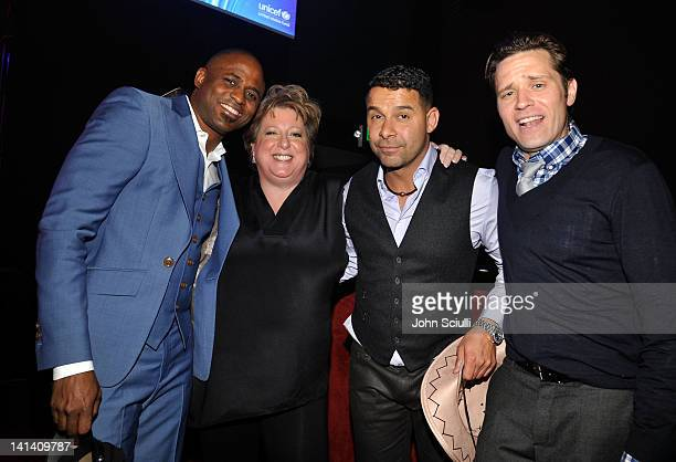 Actor Wayne Brady US Fund for UNICEF President CFO Caryl Stern actors Jon Huertas and Seamus Dever attend UNICEF Playlist With The AList at El Rey...