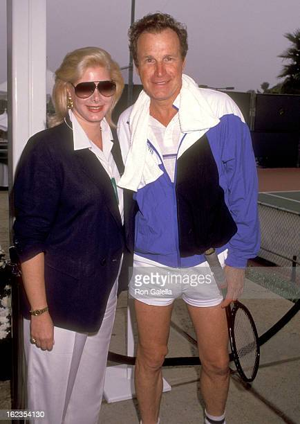 Actor Wayne Rogers and wife Amy Hirsh attend The Third Annual Nancy Reagan Tennis Tournament to Benefit the Nancy Reagan Foundation on October 5 1991...