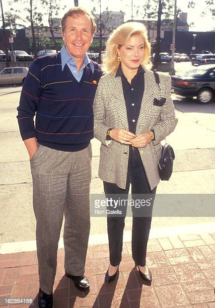 Actor Wayne Rogers and wife Amy Hirsh attend the Viewing Party for Super Bowl XXV Buffalo Bills vs New York Giants on January 27 1991 at Chasen's...
