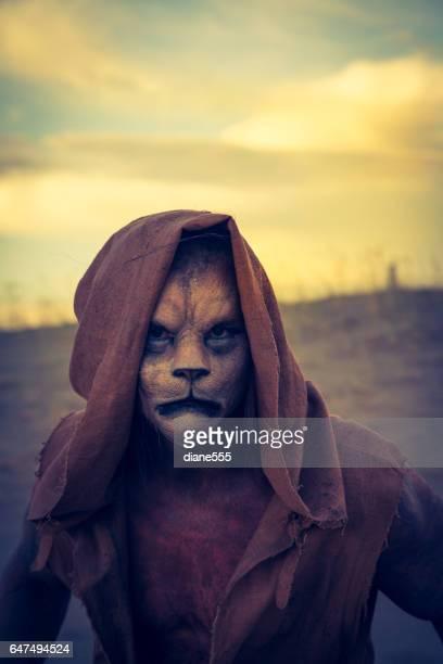 Actor Wearing Lion Makeup Posing The Desert