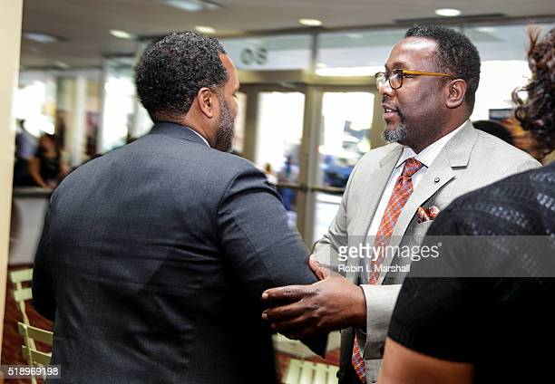 Actor Wendell Pierce greets family at HBO Films Confirmation red carpet screening at the 40th Annual Atlanta Film Festival at Rialto Center for the...