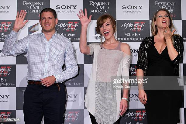 Actor Wentworth Miller actresses Milla Jovovich and Ali Larter attend the press conference for 'Resident Evil Afterlife' at Grand Hyatt Tokyo on...