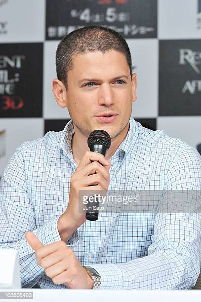 Actor Wentworth Miller attends the press conference for Resident Evil Afterlife following last night's World Premiere at the Grand Hyatt Hotel on...
