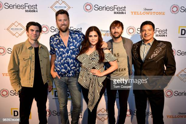 Actor Wes Bentley, Charles Kelley, Hillary Scott and Dave Haywood of Lady Antebellum with actor Gil Birmingham on the red carpet for SeriesFest...