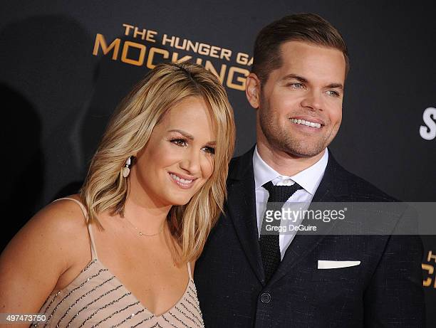 Actor Wes Chatham and wife Jenn Brown arrive at the premiere of Lionsgate's The Hunger Games Mockingjay Part 2 at Microsoft Theater on November 16...