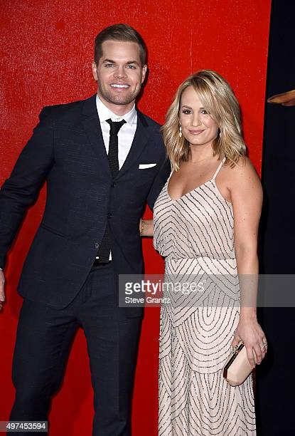 Actor Wes Chatham TV personality Jenn Brown attend the premiere of Lionsgate's The Hunger Games Mockingjay Part 2 at Microsoft Theater on November 16...