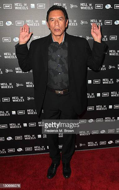 Actor Wes Studi attends the premiere of AMC's Hell on Wheels at LA Live on October 27 2011 in Los Angeles California