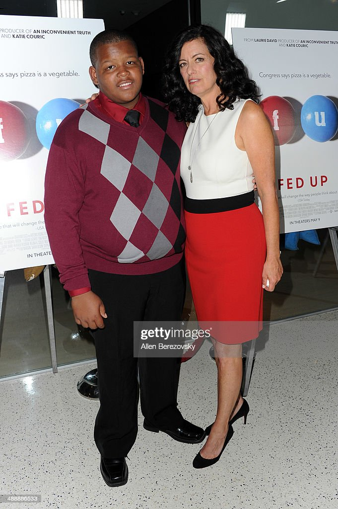 Actor Wesley Marshall and producer Laurie David arrive at the Los Angeles premiere of 'Fed Up' at Pacfic Design Center on May 8, 2014 in West Hollywood, California.