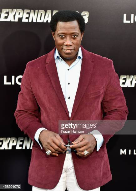 Actor Wesley Snipes attends Lionsgate Films' The Expendables 3 premiere at TCL Chinese Theatre on August 11 2014 in Hollywood California