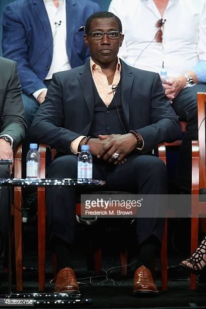 Actor Wesley Snipes speaks onstage during NBC's 'The Player' panel discussion at the NBCUniversal portion of the 2015 Summer TCA Tour at The Beverly...