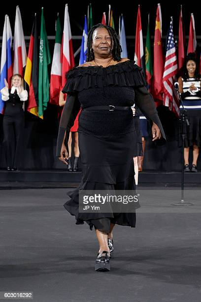 Actor Whoopi Goldberg walks the runway during the Opening Ceremony fashion show during New York Fashion Week at Jacob Javits Center on September 11...