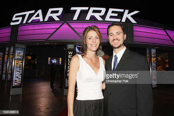 Actor Wil Wheaton and wife Anne attend the Star Trek The Tour North American Debut held at the Queen Mary Dome on January 17 2008 in Long Beach...