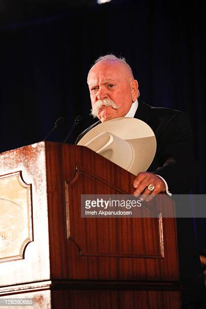 Actor Wilford Brimley speaks on stage at the 50th Anniversary Stuntmens Gala Honoring Harrison Ford on September 24 2011 in Universal City California