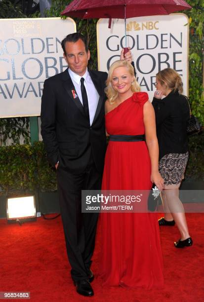 Actor Will Arnett and actress Amy Poehler arrive at the 67th Annual Golden Globe Awards held at The Beverly Hilton Hotel on January 17 2010 in...