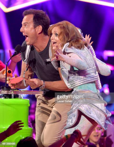 Actor Will Arnett and actress Jayma Mays speak onstage during Nickelodeon's 27th Annual Kids' Choice Awards held at USC Galen Center on March 29 2014...