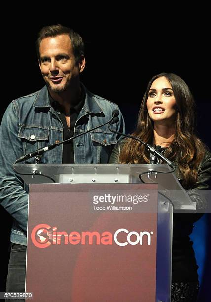 Actor Will Arnett and actress Megan Fox speak onstage during the CinemaCon 2016 Gala Opening Night Event: Paramount Pictures Highlights its 2016...