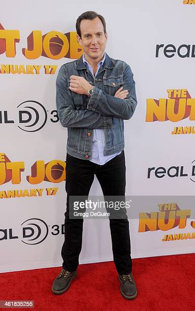 Actor Will Arnett arrives at the Los Angeles premiere of 'The Nut Job' at Regal Cinemas LA Live on January 11 2014 in Los Angeles California